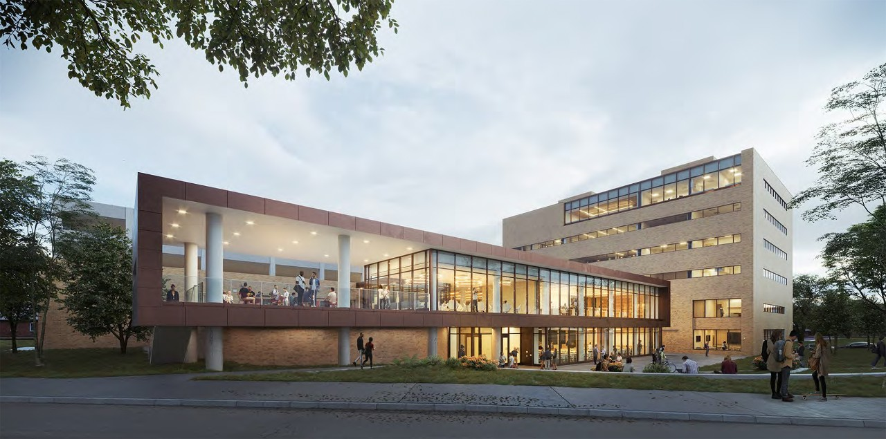 A rendering of the main entrance to the new law school.