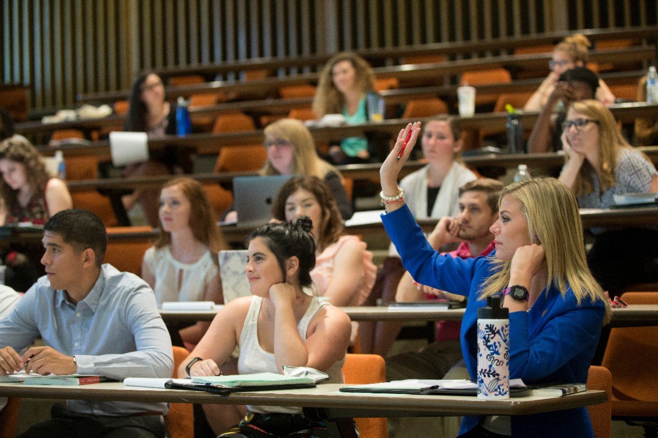 Law students participating in class.