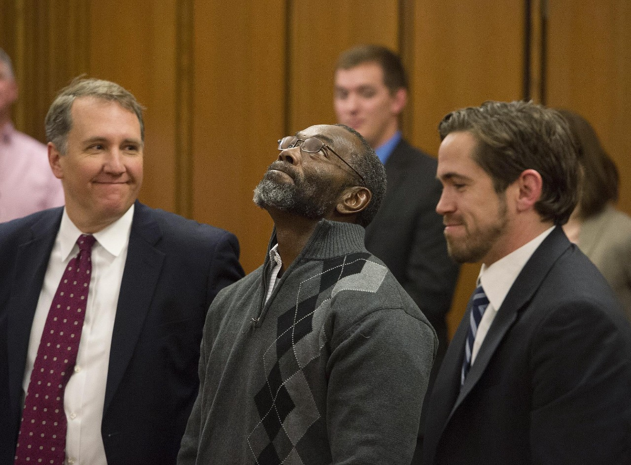 Ohio Innocence Project attorneys with client during exoneration.